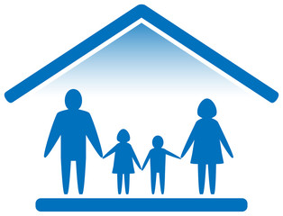 family on home blue icon