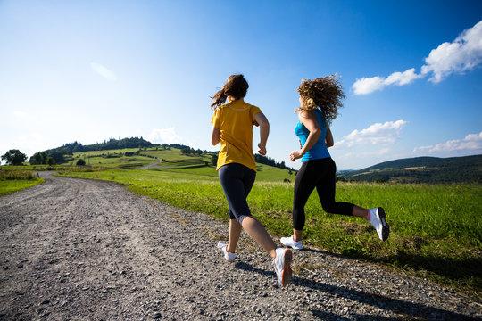 Young women running