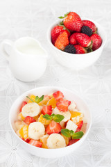 Fruit and berry salad for breakfast