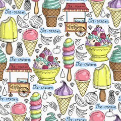 Vector seamless pattern with hand drawn ice cream and fruits