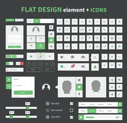 Flat design ui kit elements set with flat icons