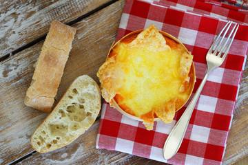 Baked cheese and ciabatta bread