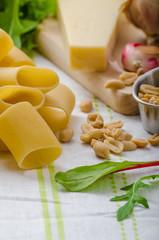 Rigatoni with garlic and herbs pesto
