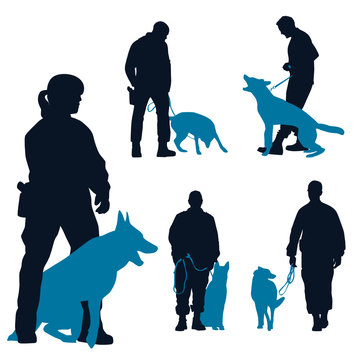 German Shepherd dogs at training