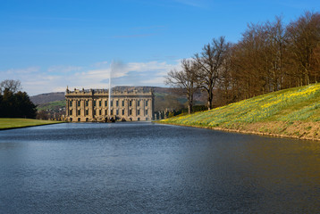 Lake, Emperor Fountain and Chatsworth House
