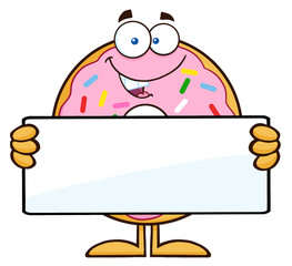 Donut Cartoon Character With Sprinkles Holding a Blank Sign