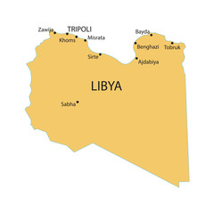 Libya map with indication of largest cities