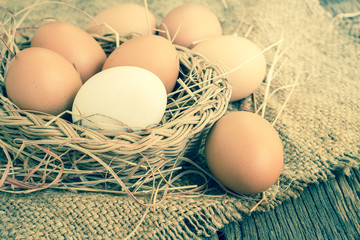 Close up of white fresh egg on basket with brown burlap