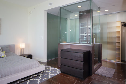 Condominium bathroom and bedroom