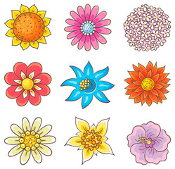 Cartoon Hand Drawn Flowers