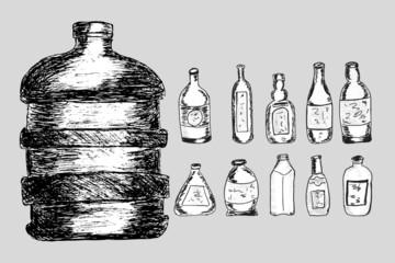 Vector Set of Sketch Bottles