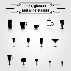 Set of glasses for different beverages