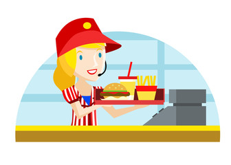 una mujer sirviendo comida rápida
