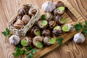 Bourgogne snails with garlic butter, selective focus, close-up