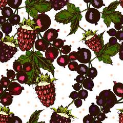 beautiful pattern with berries, blackberries, raspberries