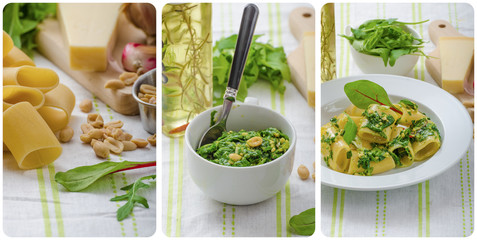 Rigatoni with garlic and herbs pesto - collage