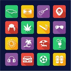 Jamaica Icons Flat Design