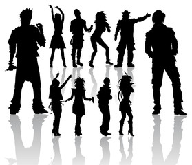 Dancing and Singing People's Silhouettes