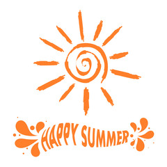 "Illustration sun sign with the text ""Happy summer!"" Vector illus"