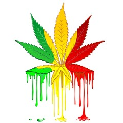 Wall Murals Draw Marijuana Leaf Rasta Colors Dripping Paint