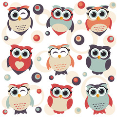 Background with cute owls