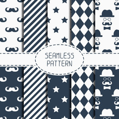 Set of hipster fashion geometric seamless pattern with mustache