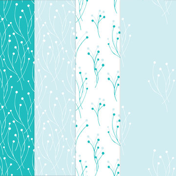 Four seamless background in light blue colors