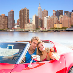 selfie young couple convertible New York Manhattan