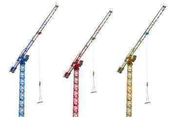 Construction cranes on white background
