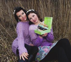 beautiful twins outdoor