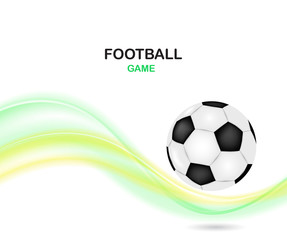 Creative football vector design. Soccer ball with color wave