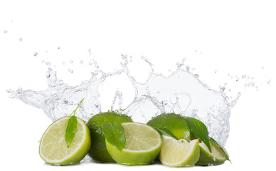 Limes with water splashes on white background