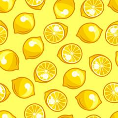 Seamless pattern with stylized fresh ripe lemons