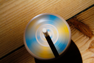 Spinning top form above