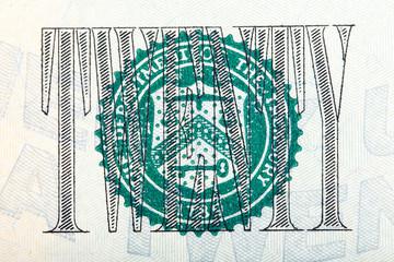 The Seal on the U.S. $20 dollar bill on macro.