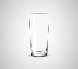Empty big crustal glass. Transparent drinking glass.
