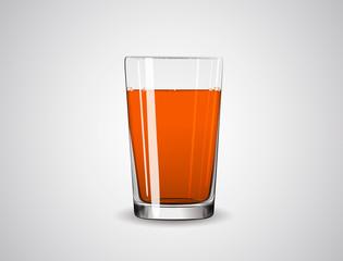 Glass full of orange liquid / juice
