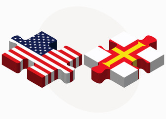 USA and Guernsey Flags in puzzle
