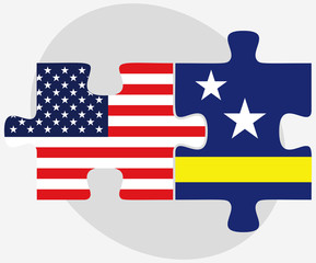 USA and Curacao Flags in puzzle
