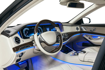 Car interior wood and leather decoration and blue ambient light