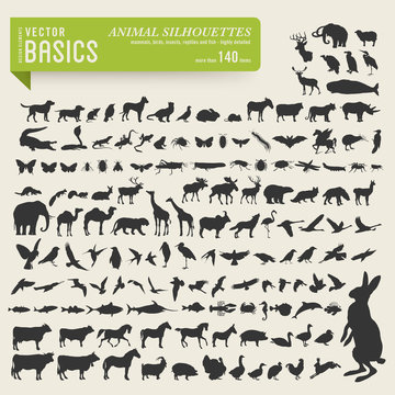 more than 140 detailed animal silhouettes