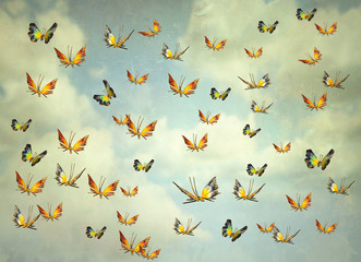 Foto auf AluDibond Surrealismus Butterflies in the sky