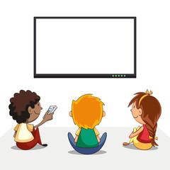 Kids watching tv, blank screen