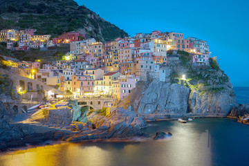 Wall Mural - Twilight of Manarola, one of the five villages of the Cinque Ter
