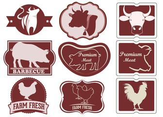 Vintage meat logos