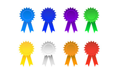 Vector illustration of ribbon badges of various colors.