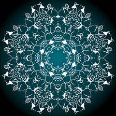 Mandala circle round black turquoise white