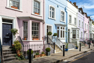 Fotobehang Londen London street of terraced houses without parked cars.