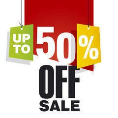 Sale up to 50 percent off red background