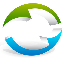3d Circular, rotating arrows in oval fashion